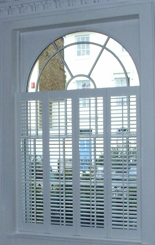 Three quarter height plantation shutters in MDF with 47mm louvres