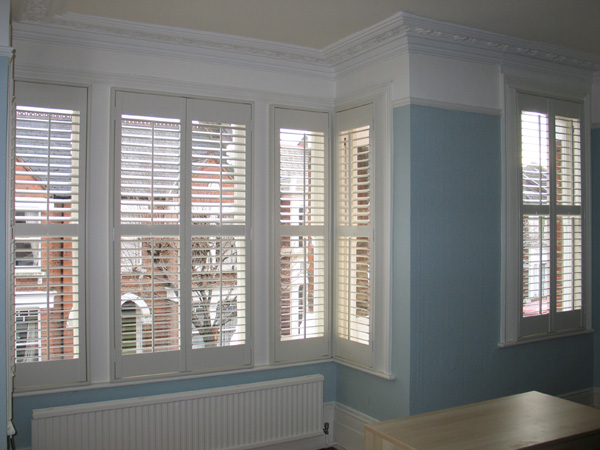 MDF plantation shutters with 63mm louvres internal view