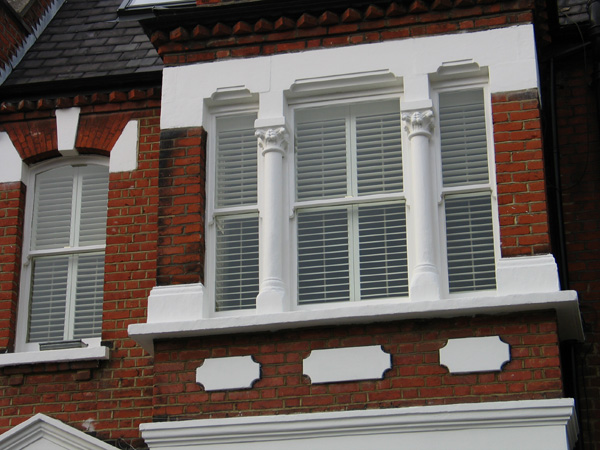 MDF plantation shutters with 63mm louvres external view
